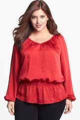 Michael by Michael Kors Smocked Waist Peasant Blouse - Lyst