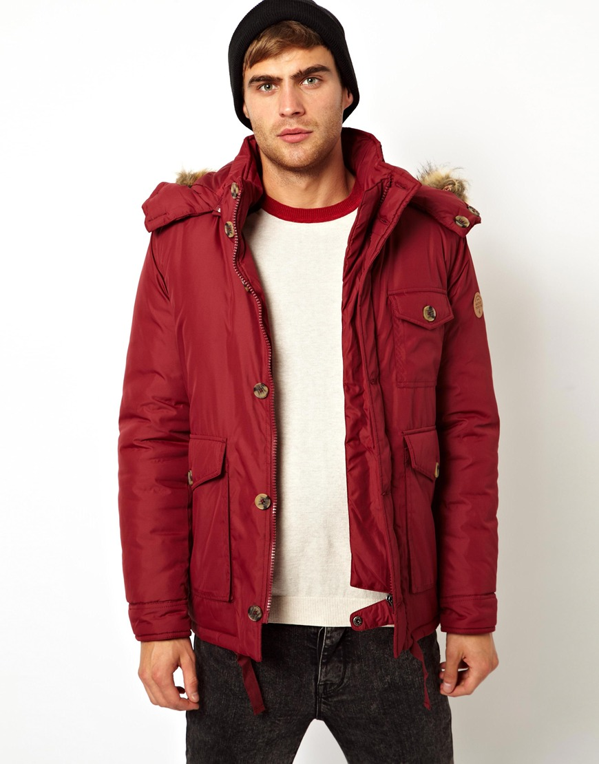 Asos Native Youth Padded Parka Jacket in Red for Men | Lyst