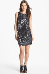 Nicole Miller Sequin Blouson Dress - Lyst