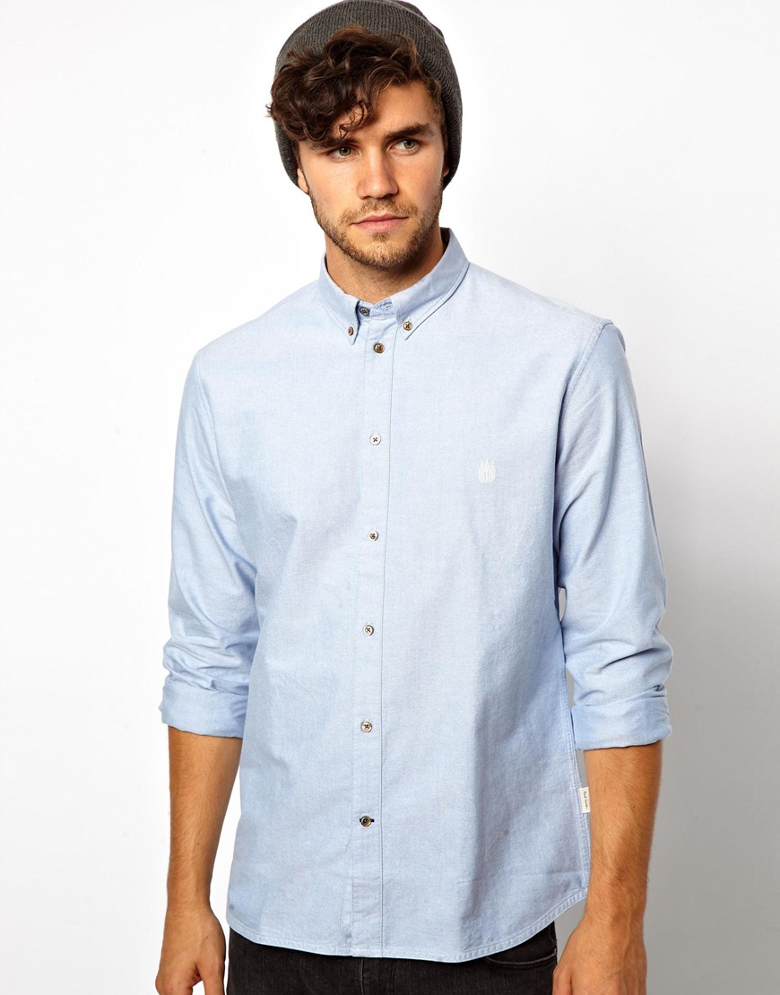 Lyst g star raw paul smith jeans oxford shirt in blue for Mens blue oxford shirt