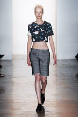 Peter Som Spring 2014 Cropped Sculpted Sweatshirt in Abstract Print