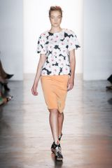 Peter Som Spring 2014 Silk Knee-Length Skirt in Burnt Orange
