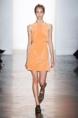 Peter Som Spring 2014 Sleeveless Silk Draped Mini Dress in Burnt Orange