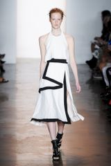 Peter Som Spring 2014 High-Waisted Mid-Length Drape Skirt with Side Slit and Black Hem