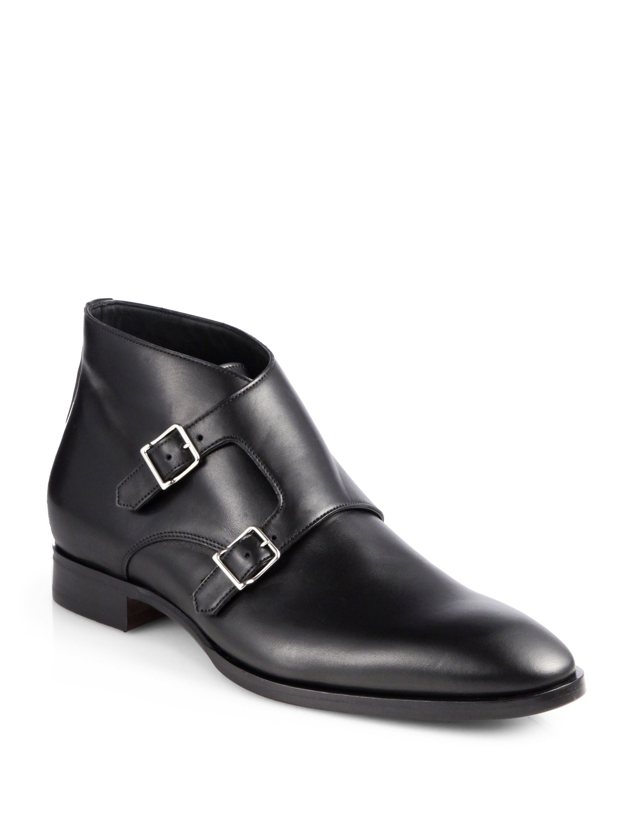 Black Red Buckle Shoes