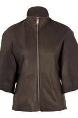 Rick Owens Brown Winged Sleeve Leather Jacket - Lyst