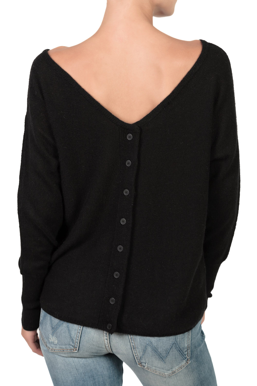 Subtle luxury v back button down sweater black in black lyst for Luxury clothing