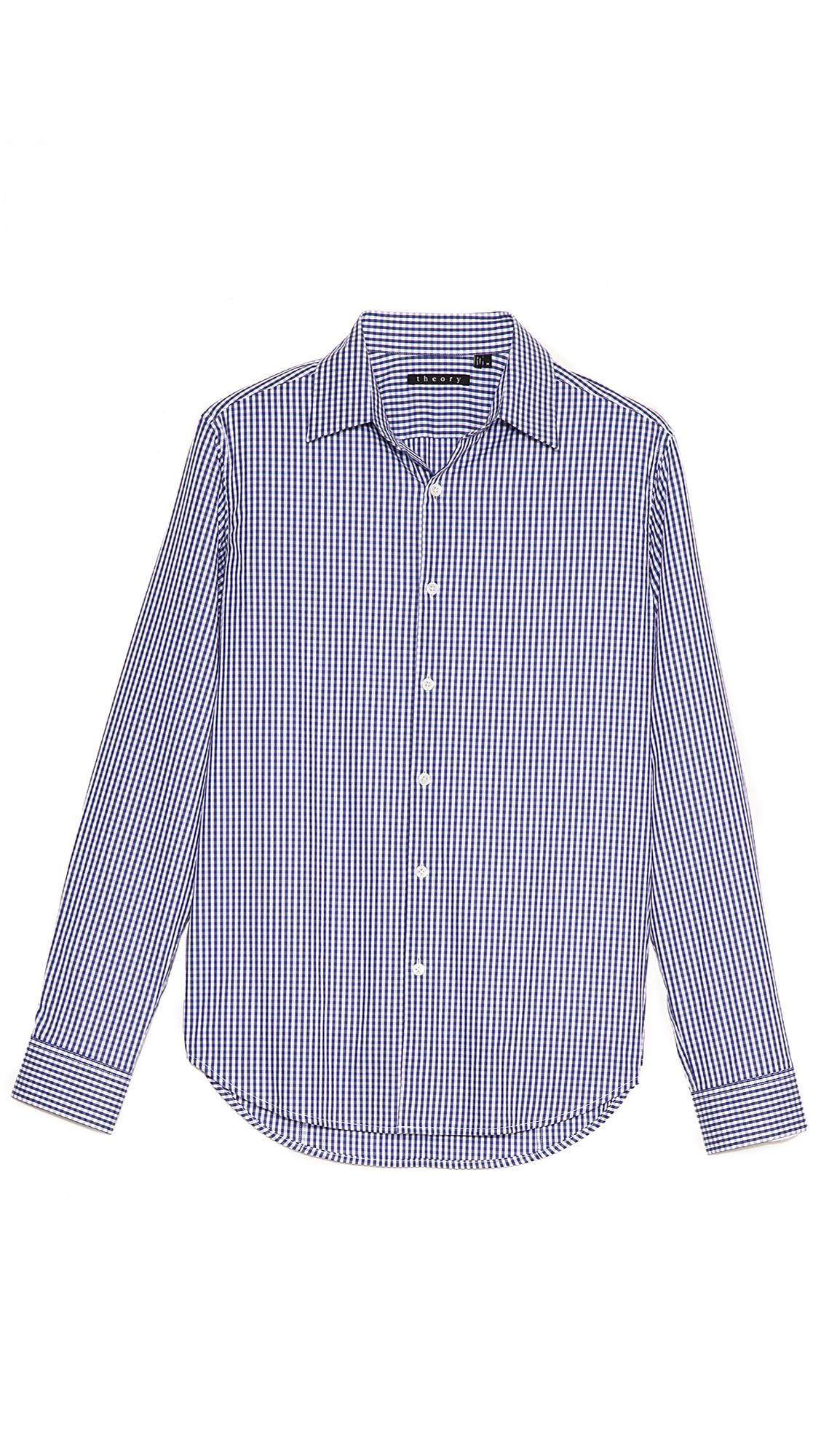 Theory sylvain gingham dress shirt in blue for men navy for Gingham dress shirt men