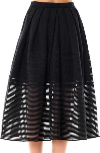 tibi stripe organza pleated skirt in black lyst