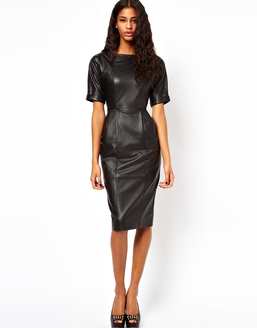Asos Leather Wiggle Dress in Black | Lyst