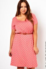Asos Curve Exclusive Skater Dress in Spot Print - Lyst