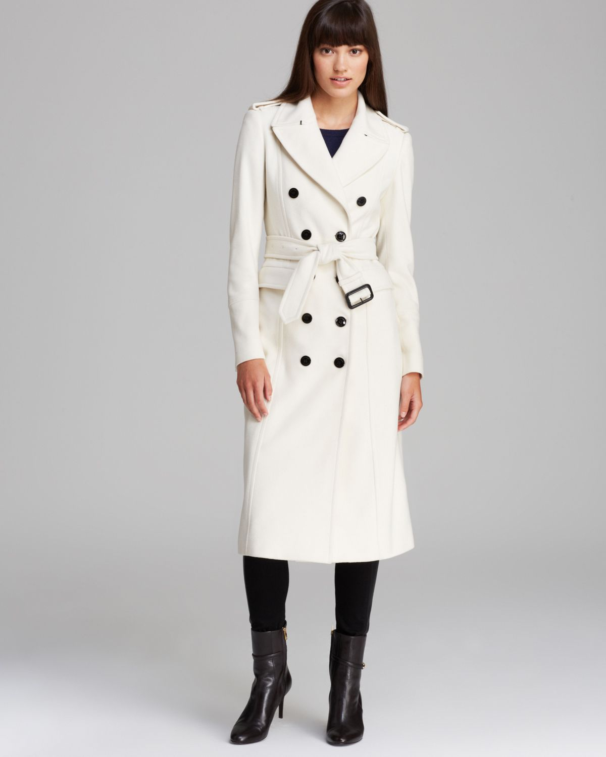 Burberry Coat Military Wool Cashmere in White | Lyst