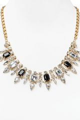 Cara Accessories Jet Flower Bib Necklace 18 - Lyst