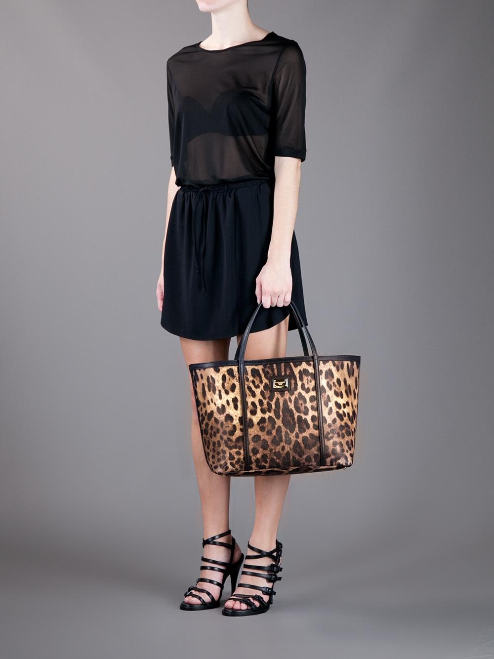 lyst dolce amp gabbana leopard shopping tote