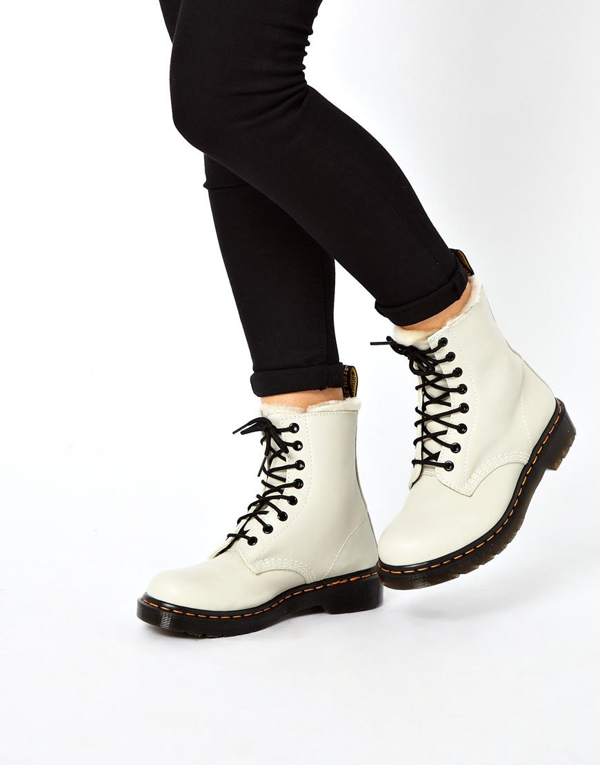 Dr. martens Serena White Sheep-skin 8eye Boots in White | Lyst