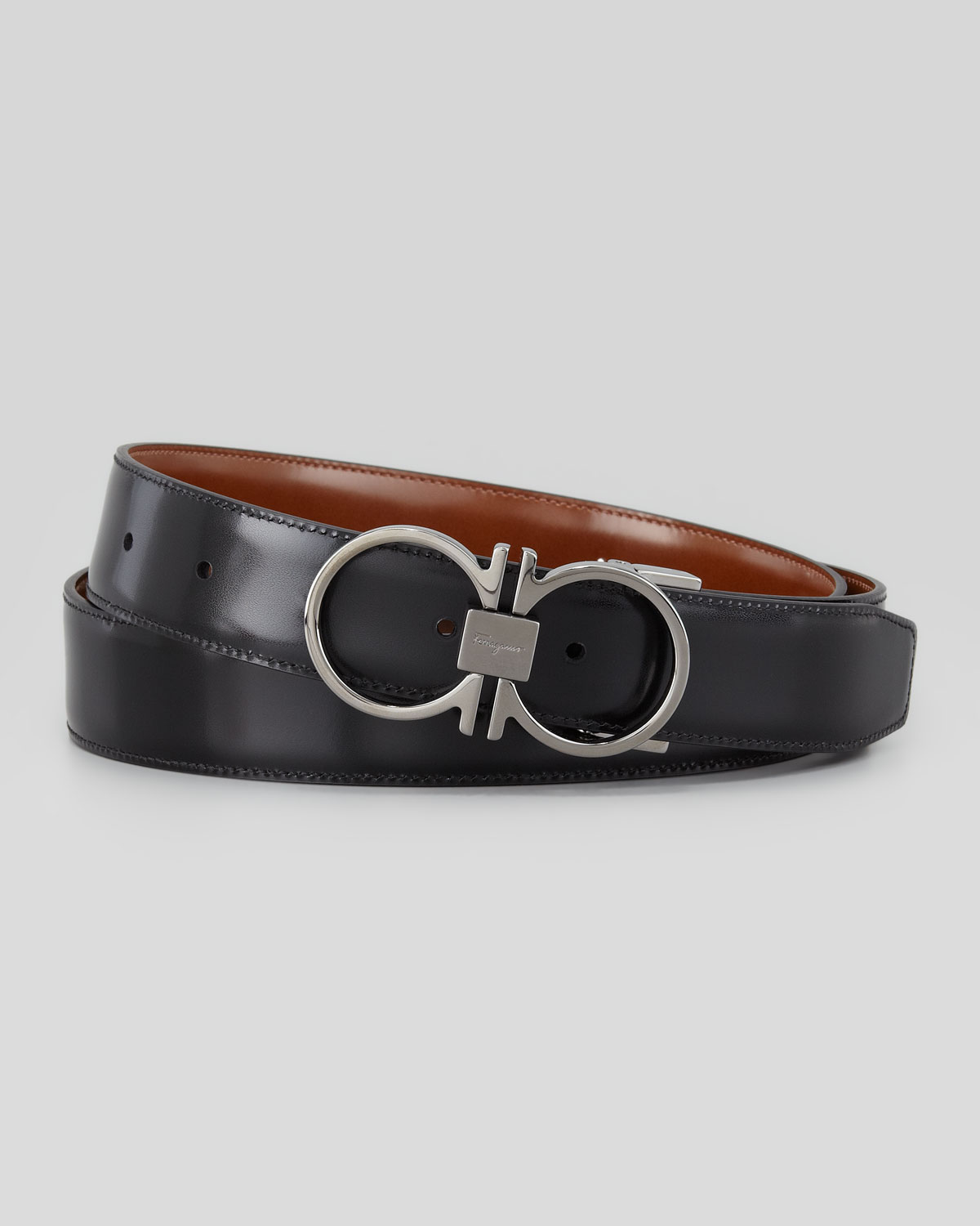 ferragamo reversible gancini leather belt in brown lyst