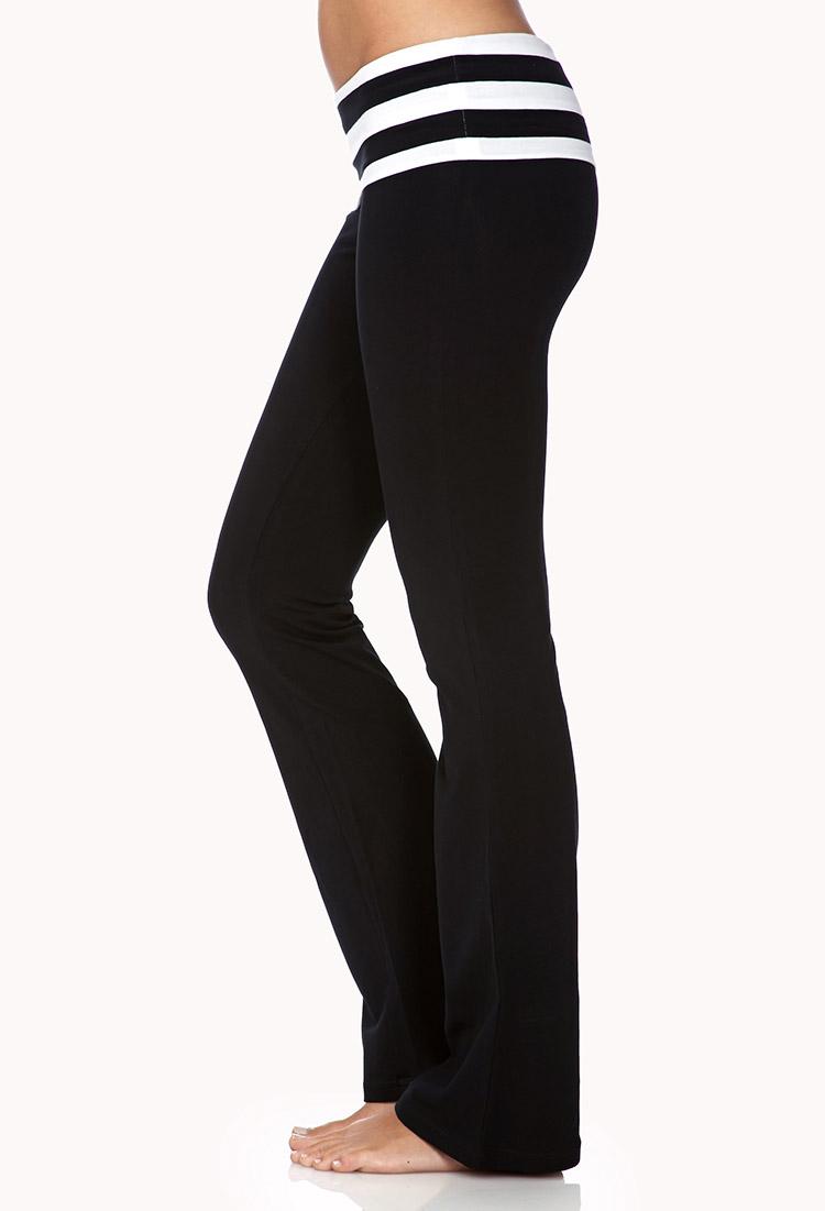 ec9003415c8718 Forever 21 Fit Flare Foldover Yoga Pants in Black - Lyst