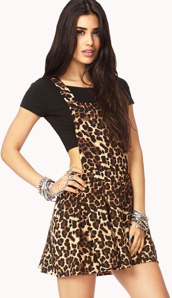 Forever 21 Spoton Overall Dress In Brown Taupe Black Lyst