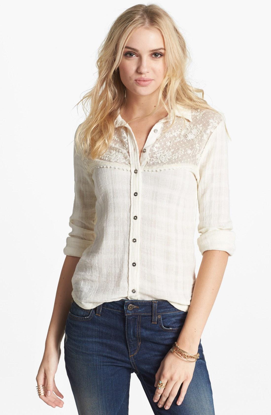 free people saddle up lace yoke shirt in white ivory lyst
