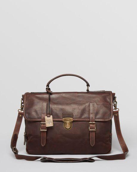 Frye Logan Leather Buckle Briefcase In Brown For Men Dark