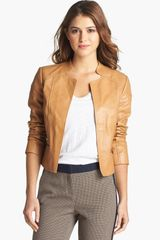 Halogen Zip Cuff Open Front Leather Jacket - Lyst