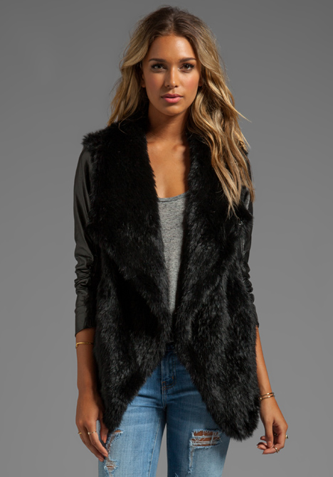 June Knit Fur Jacket with Leather Sleeves in Black in Black | Lyst