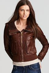 Kors By Michael Kors Berber Collar Leather Jacket - Lyst