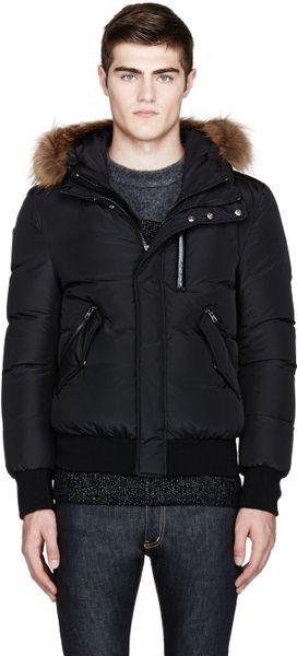 Mackage Black Fur Trimmed Harvey Puffer Jacket In Black