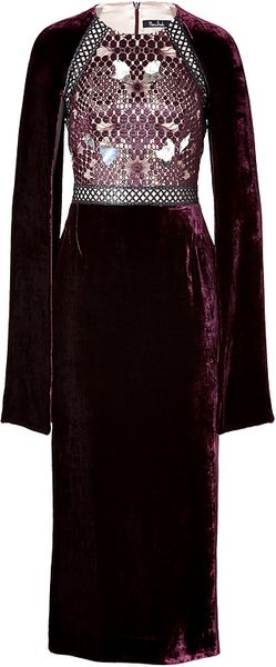 Marios Schwab Velvetlace Embellished Dress in Port - Lyst