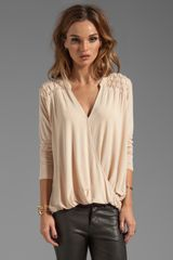 Michael Stars Roll Sleeve Surplice with Notched Neck in Beige