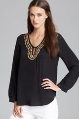 Plenty By Tracy Reese Quotation Blouse Embellished Peasant - Lyst