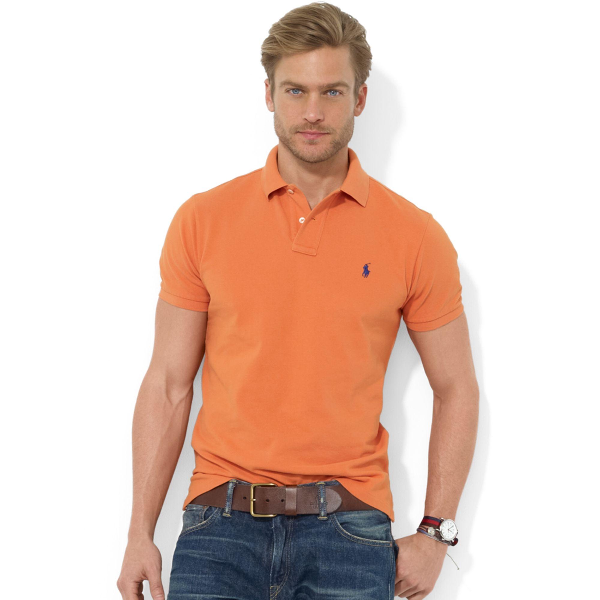 38951f70 ... shirt b5188 eee7f low price lyst ralph lauren customfit shortsleeve  cotton mesh polo in orange e6570 d4272 ...