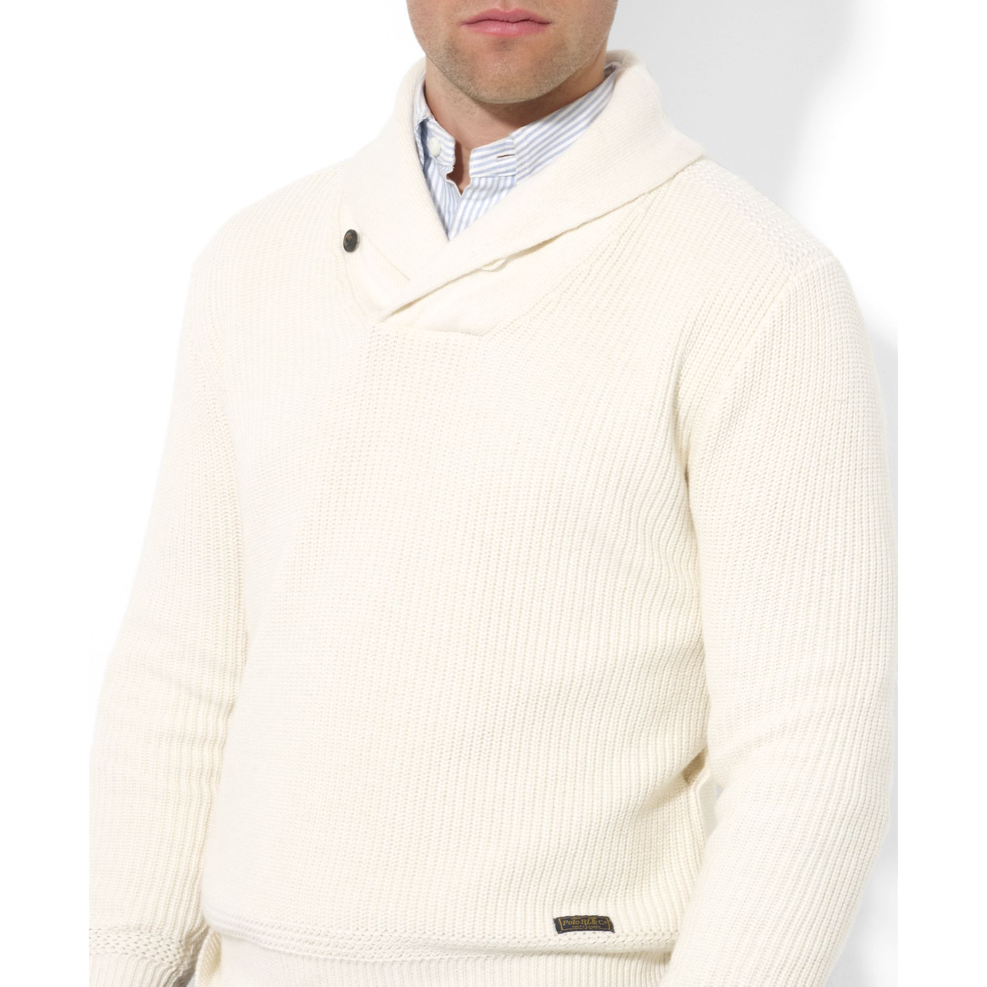 Ralph lauren Shawl Collar Cotton Sweater in Natural for Men | Lyst
