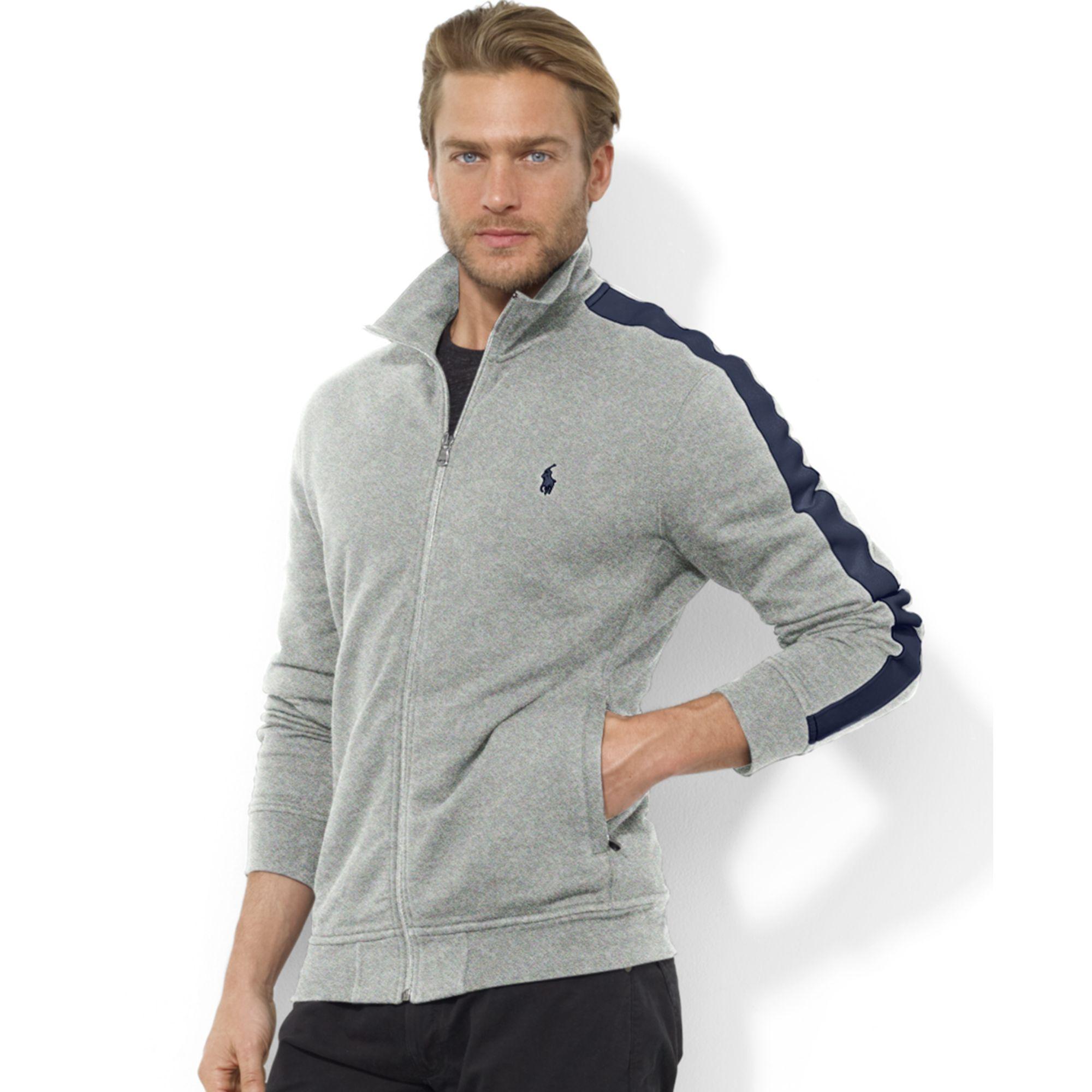 Ralph Lauren Zipfront Mock Neck Fleece Jacket in Black for