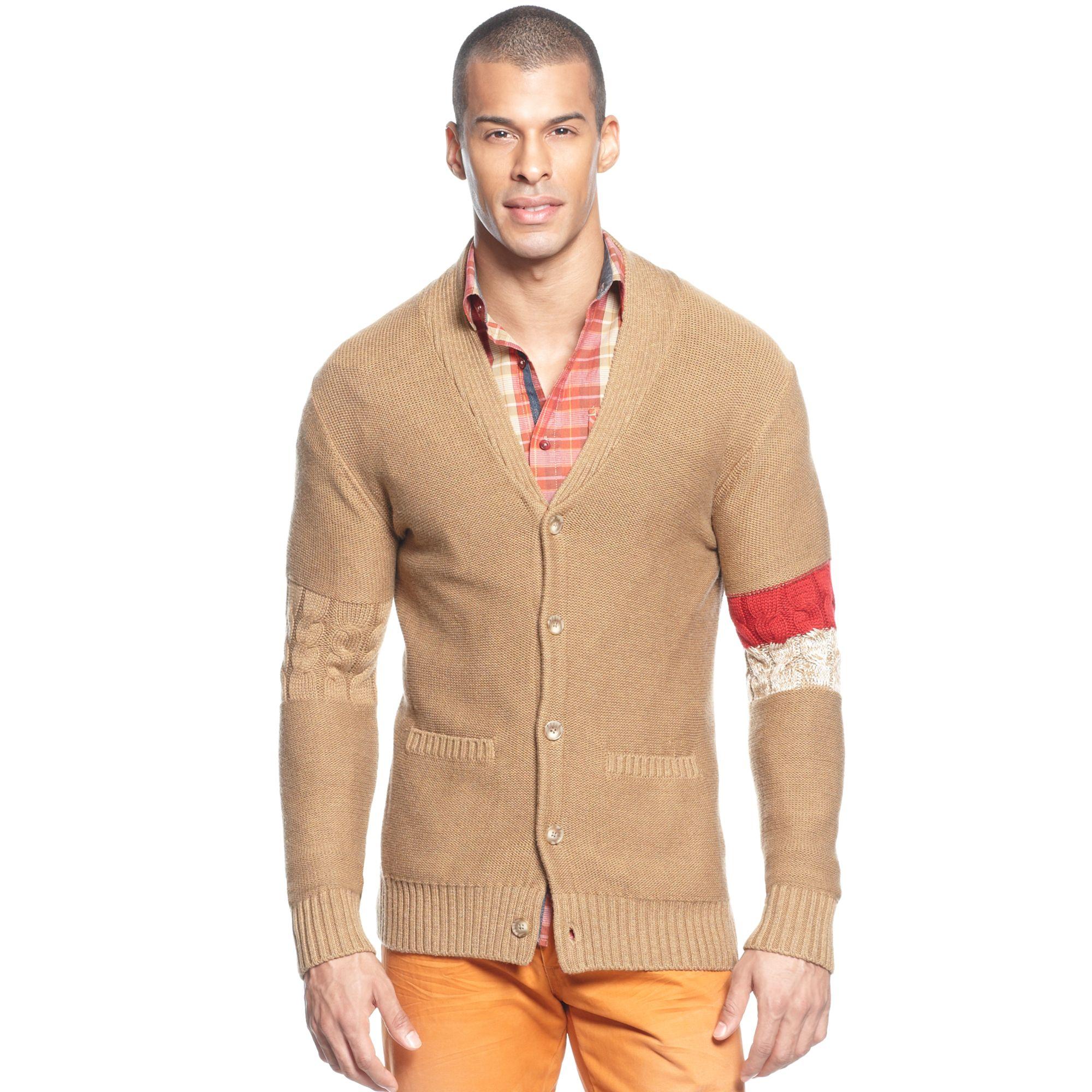 Sean john Varsity Cardigan Sweater in Brown for Men | Lyst
