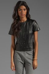 T By Alexander Wang Light Weight Leather Short Sleeve Top in Black - Lyst