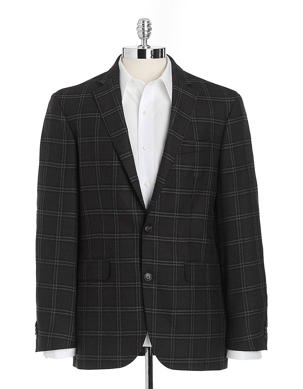 Ike Behar Plaid Wool Sport Coat In Black For Men Brown