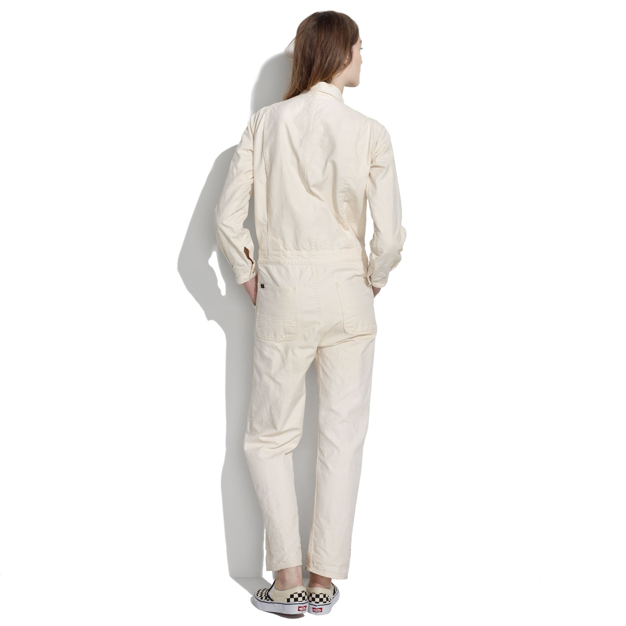 Madewell Herringbone Work Jumpsuit in White | Lyst