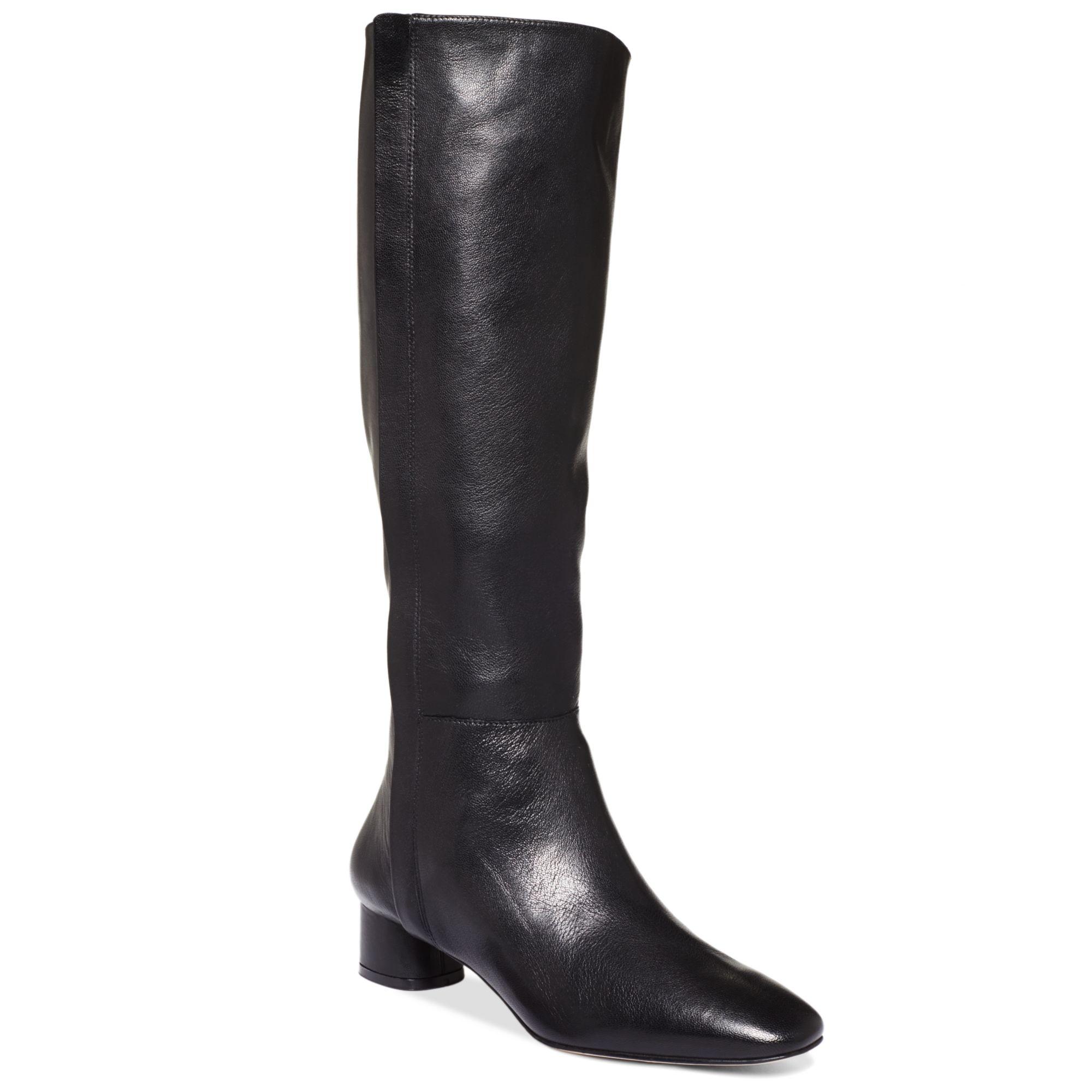 nine west nicoh low heel boots in black lyst