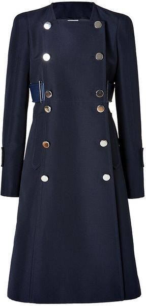 Paco Rabanne Wool Blend Coat in Marine - Lyst