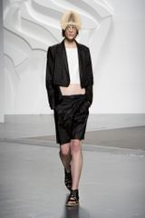 Tibi Spring 2014 Black Satin Formal Knee-Length Shorts