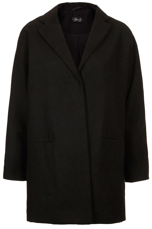 Lyst Topshop Popper Front Boyfriend Coat In Black