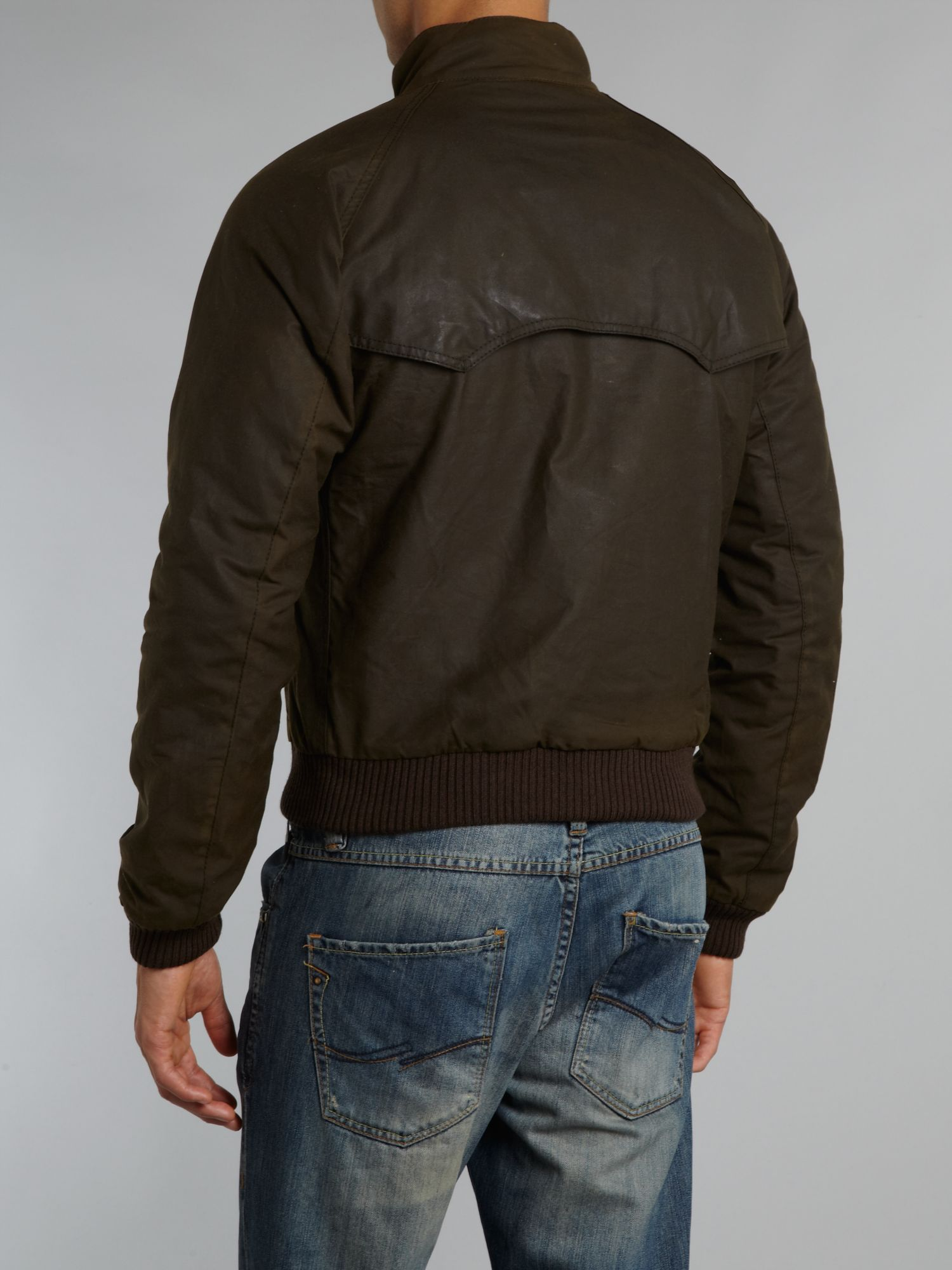 Barbour Wax Steve Mcqueen Merchant Bomber Jacket In Black