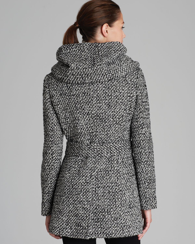 Calvin klein Coat - Belted City Tweed in Gray | Lyst