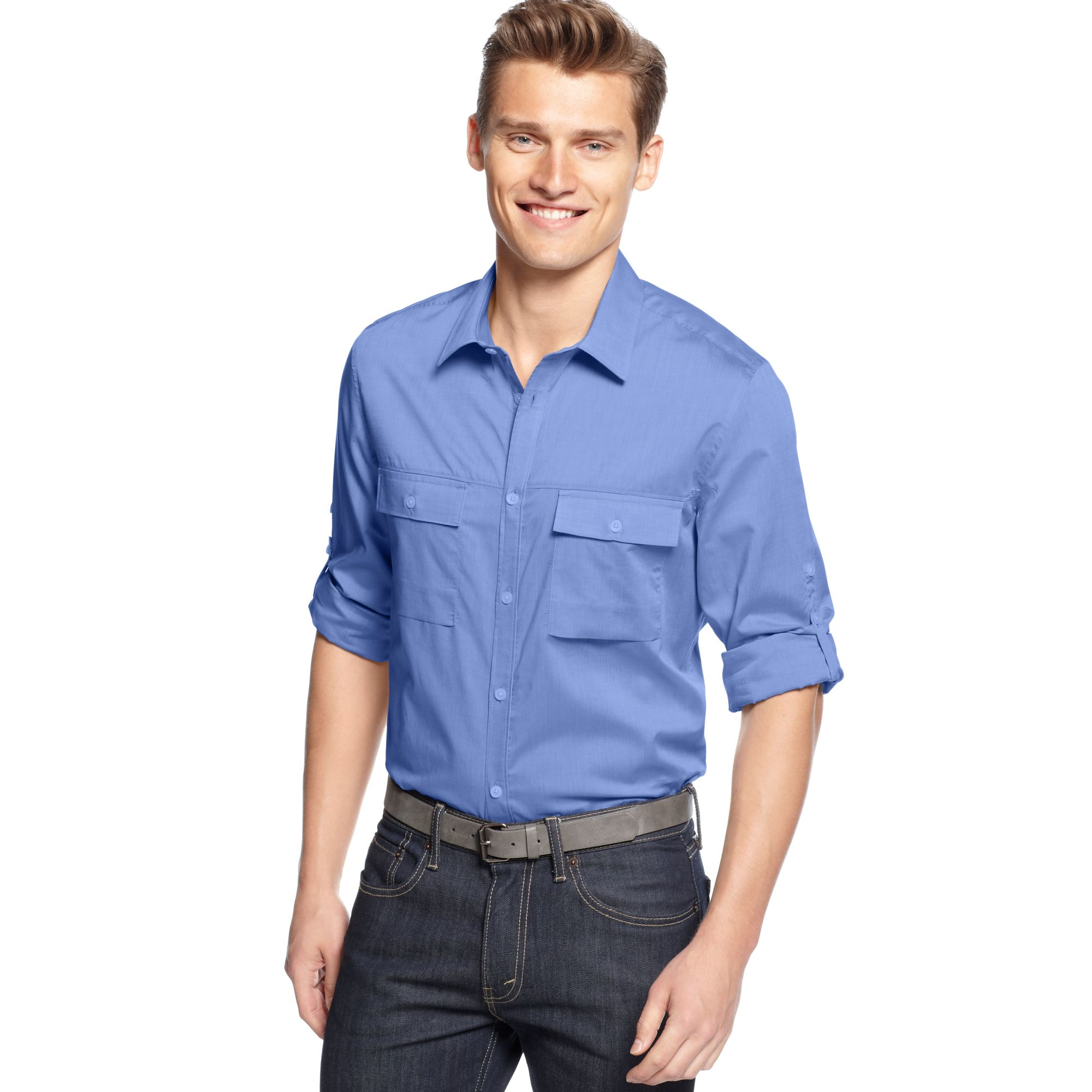 Calvin klein long sleeve chambray roll tab sleeve shirt in for Men s roll tab sleeve shirts