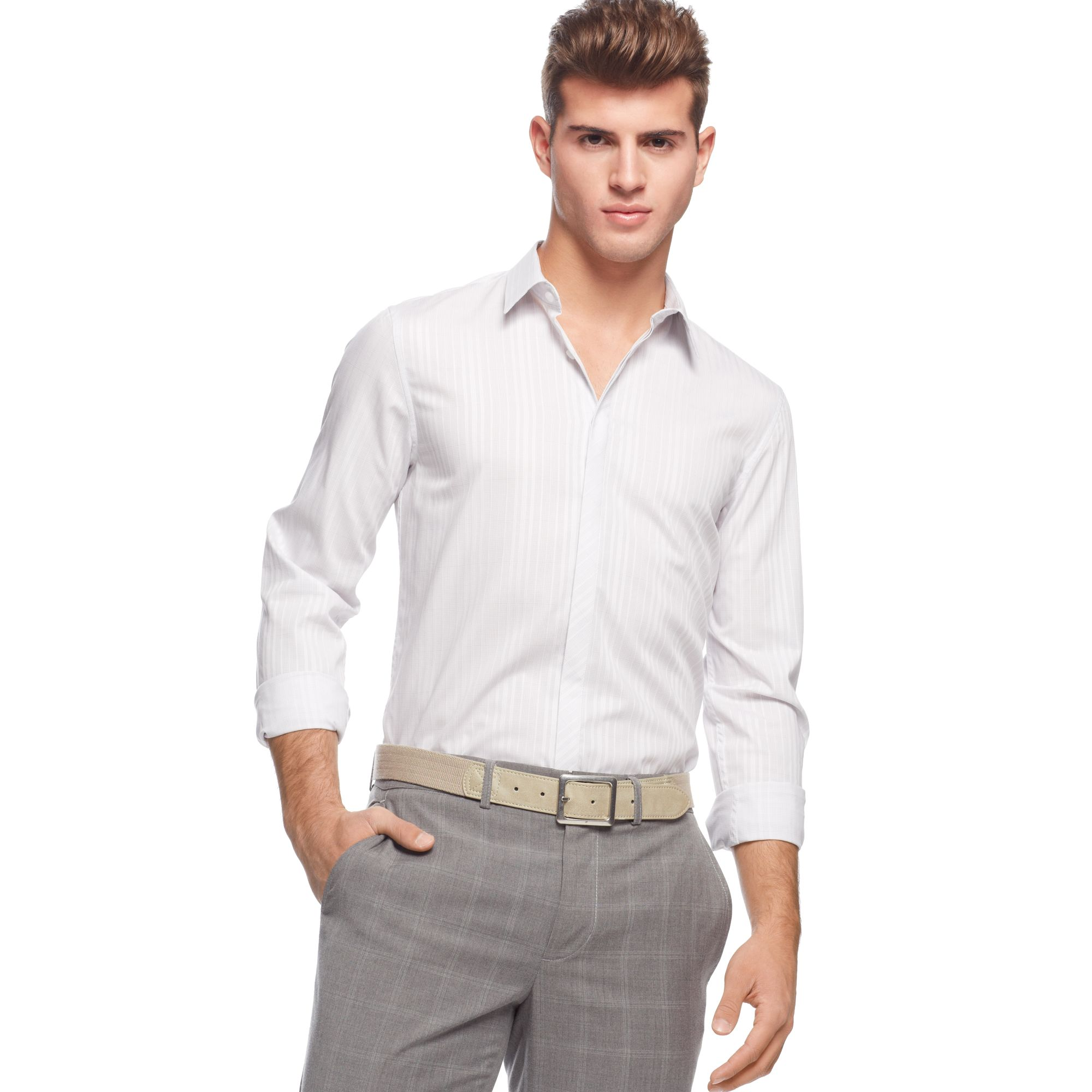 Calvin Klein Long Sleeve Slim Fit Check Shirt In White For