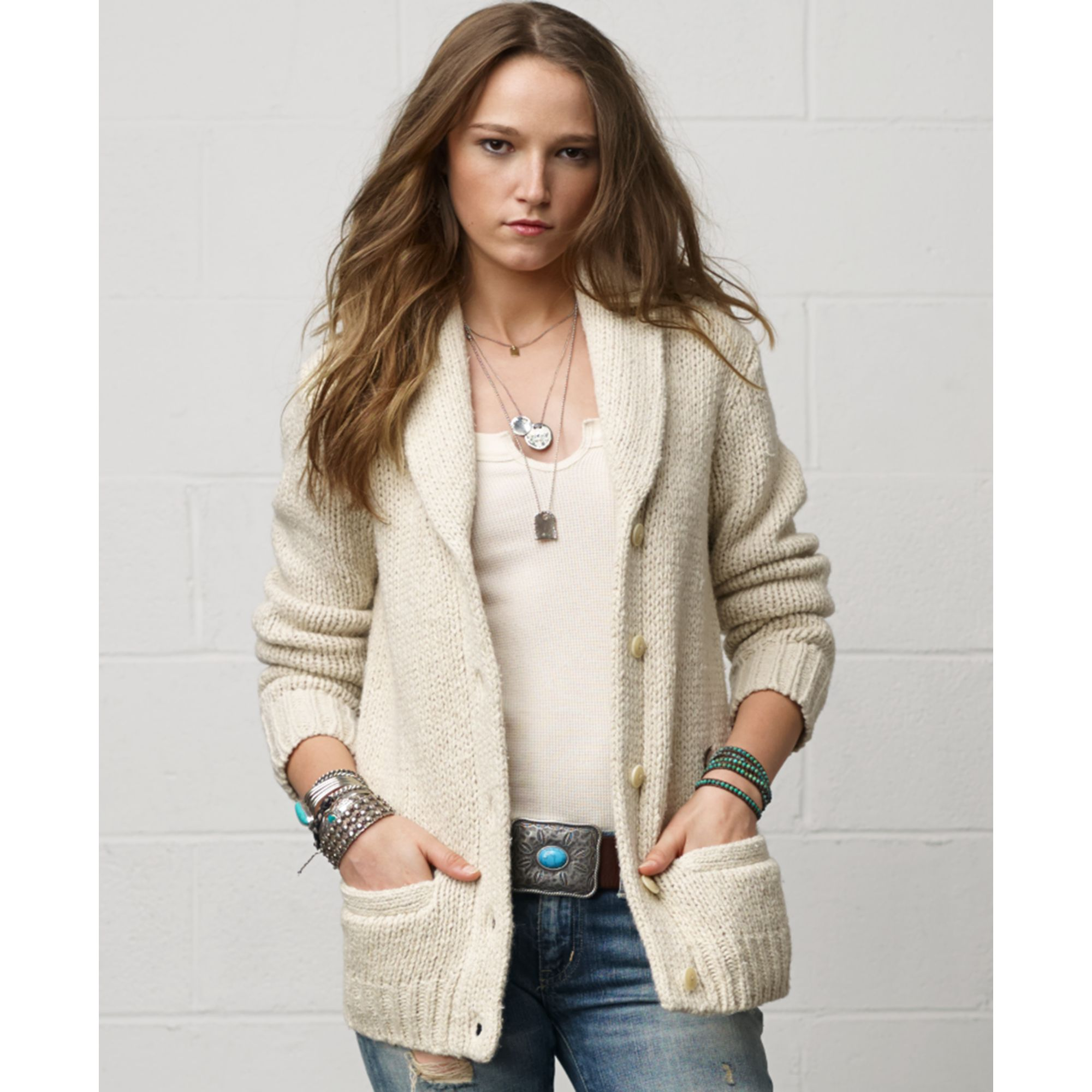 Denim & supply ralph lauren Long-sleeve Wool-blend Silk ...