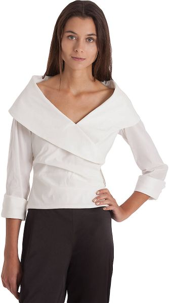 Shawl Collar Blouse White 73