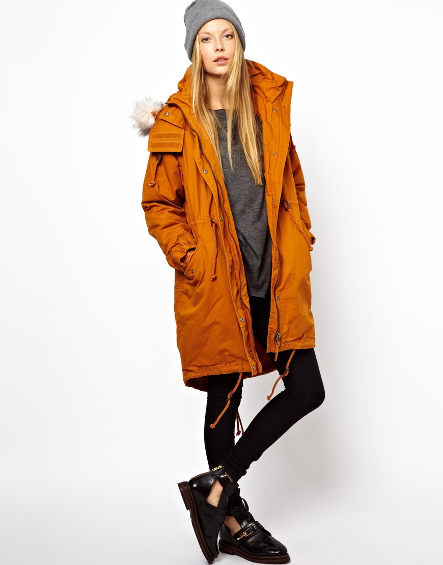 Monki Parka with Faux Fur Trim Hood in Orange | Lyst