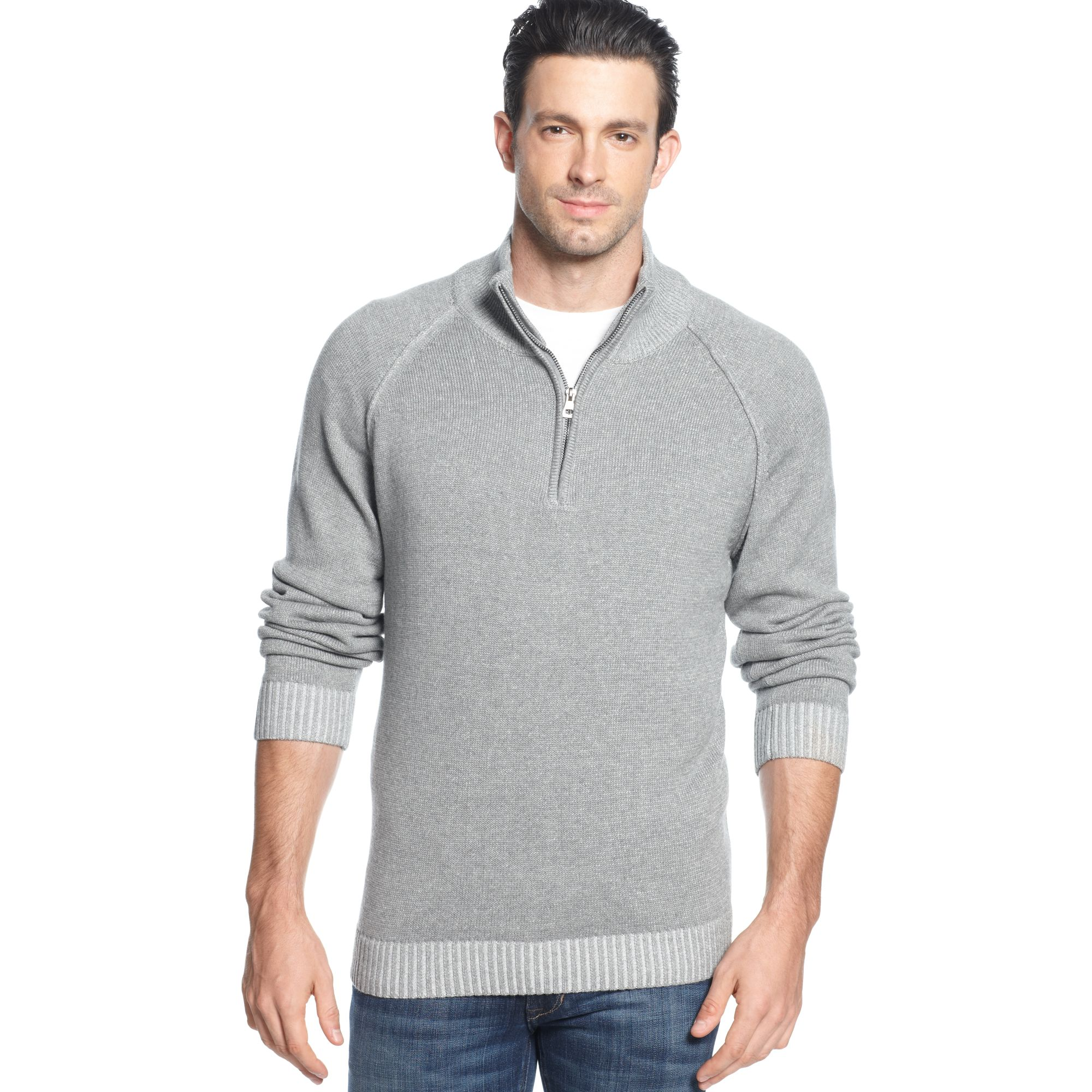 Weatherproof Quarter Zip Mock Neck Cotton Pullover in Gray for Men ...